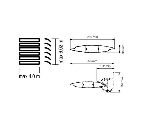 Sunbreaker 210 Stały wymiary techniczne
